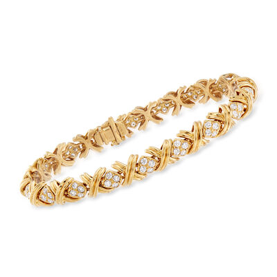"C. 1990 Vintage Tiffany Jewelry 2.75 ct. t.w. Diamond ""X"" Bracelet in 18kt Yellow Gold, , default"