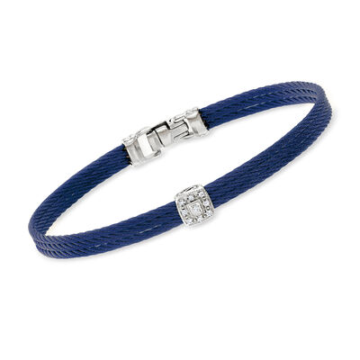 """ALOR """"Classique"""" Diamond-Accented Station Bracelet in Blue Stainless Steel and 18kt White Gold"""
