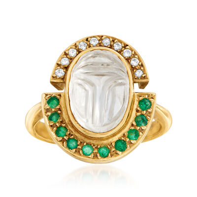C. 1980 Vintage Rock Crystal, .40 ct. t.w. Emerald and .15 ct. t.w. Diamond Ring in 18kt Yellow Gold