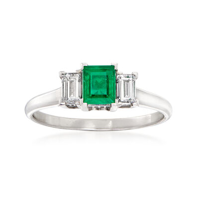 C. 1970 Vintage .55 Carat Emerald and .40 ct. t.w. Diamond Ring in Platinum