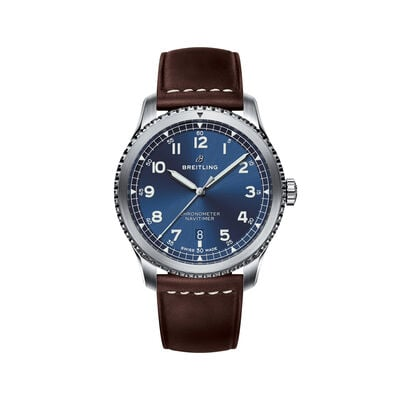 Breitling Navitimer 8 Automatic Men's 41mm Stainless Steel Watch - Blue Dial and Brown Leather Strap, , default