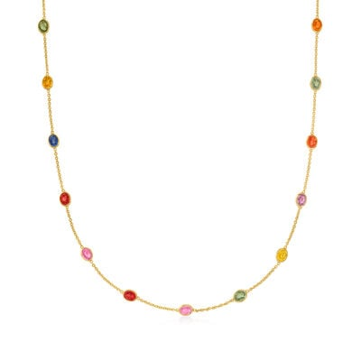 C. 1990 Vintage 7.00 ct. t.w. Multicolored Sapphire Station Necklace in 18kt Yellow Gold