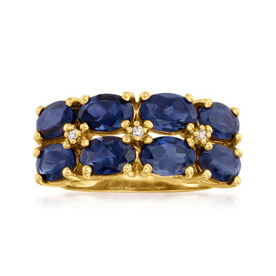 C. 1990 Vintage 3.00 ct. t.w. Sapphire Double-Row Ring with Diamond Accents in 14kt Yellow Gold