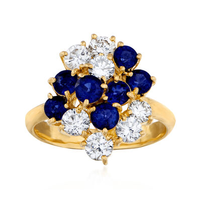 C. 1980 Vintage 1.52 ct. t.w. Sapphire and 1.07 ct. t.w. Diamond Cluster Ring in 18kt Yellow Gold
