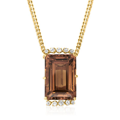 C. 1960 Vintage 40.00 Carat Citrine and .75 ct. t.w. Diamond Necklace in 14kt Yellow Gold