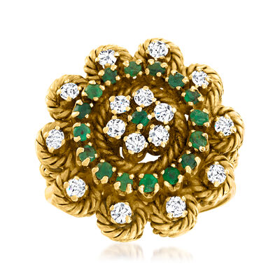 C. 1970 Vintage .50 ct. t.w. Emerald and .50 ct. t.w. Diamond Circle Ring in 18kt Yellow Gold