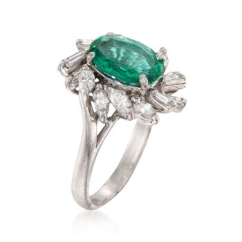 C. 1990 Vintage 1.65 Carat Certified Emerald and 1.15 ct. t.w. Diamond Ring in Platinum. Size 5.5, , default