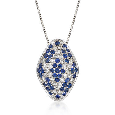C. 2000 Vintage 1.27 ct. t.w. Sapphire and .85 ct. t.w. Diamond Pendant Necklace in 18kt White Gold