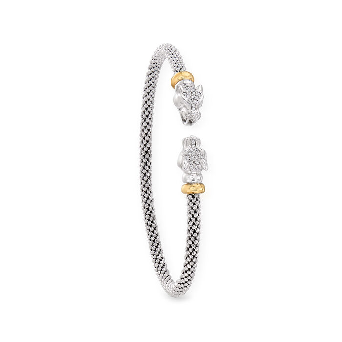 """Phillip Gavriel """"Popcorn"""" .15 ct. t.w. Diamond Panther Cuff Bracelet in Sterling Silver and 18kt Yellow Gold"""