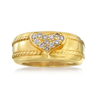 C. 1980 Vintage .25 ct. t.w. Pave Diamond Heart Ring in 18kt Yellow Gold, , default