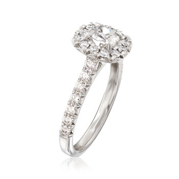 Henri Daussi .99 ct. t.w. Diamond Halo Engagement Ring in 18kt White Gold, , default