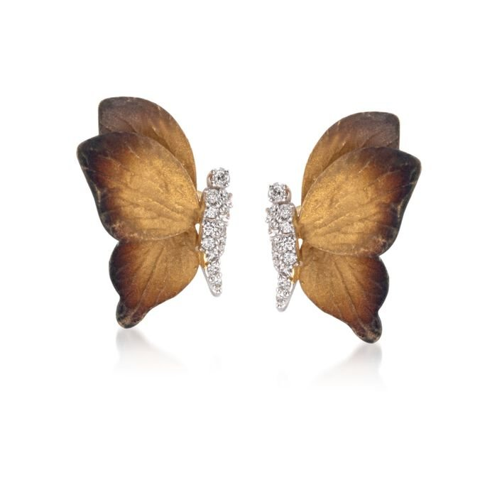 Simon G. .18 Carat Total Weight Diamond Butterfly Earrings in 18-Karat Two-Tone Gold, , default