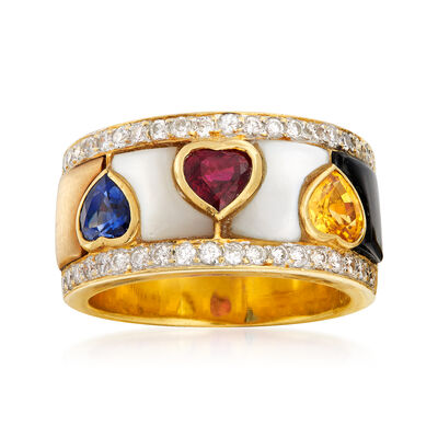 C. 1970 Vintage Black Onyx, Mother-Of-Pearl, .47 ct. t.w. Diamond and 1.72 Multi-Gemstone Heart Ring in 18kt Yellow Gold, , default