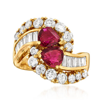 C. 1980 Vintage 2.50 ct. t.w. Diamond and 1.50 ct. t.w. Ruby Bypass Ring in 18kt Yellow Gold