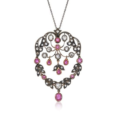 C. 1970 Vintage 2.20 ct. t.w. Ruby and 3.20 ct. t.w. Diamond Pin Pendant Necklace in Sterling Silver and 18kt Gold, , default