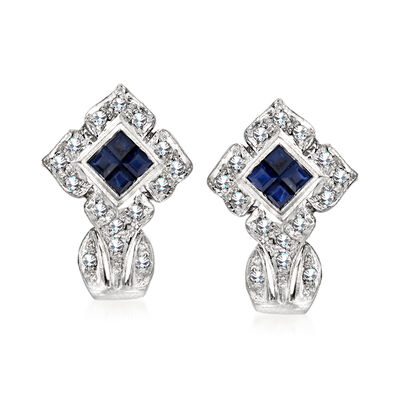 C. 1990 Vintage .40 ct. t.w. Sapphire and .15 ct. t.w. Diamond Earrings in 14kt White Gold