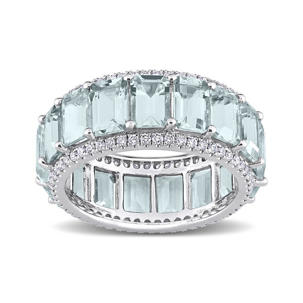 8.25 ct. t.w. Aquamarine Eternity Band with .57 ct. t.w. Diamonds in 14kt White Gold. #D04916
