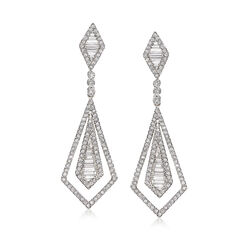 1.71 ct. t.w. Diamond Open-Space Double Kite-Shaped Drop Earrings in 18kt White Gold, , default