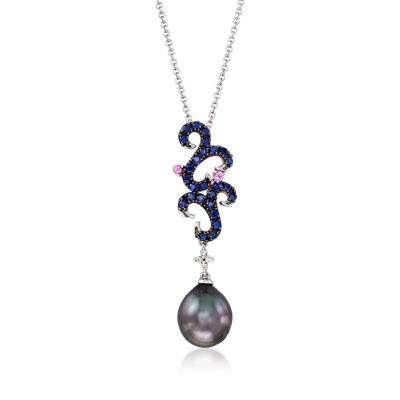 C. 1990 Vintage 11x9mm Black Cultured Pearl, .63 ct. t.w. Blue and Pink Sapphire and Diamond-Accented Necklace in 14kt White Gold