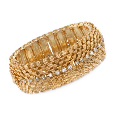C. 1970 Vintage 2.80 ct. t.w. Diamond Wide Textured Bracelet in 18kt Yellow Gold, , default