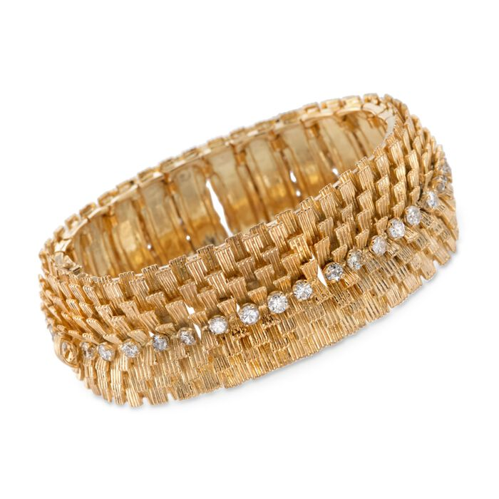"C. 1970 Vintage 2.80 ct. t.w. Diamond Wide Textured Bracelet in 18kt Yellow Gold. 6.75"", , default"