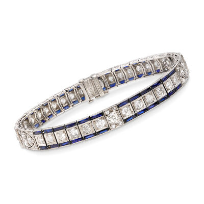 C. 1940 Vintage 5.40 ct. t.w. Synthetic Sapphire and 4.30 ct. t.w. Diamond Bracelet in Platinum, , default
