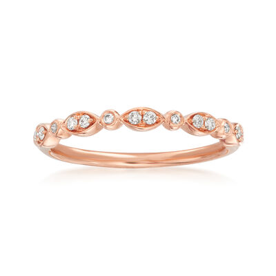 Henri Daussi .11 ct. t.w. Diamond Wedding Ring in 18kt Rose Gold, , default