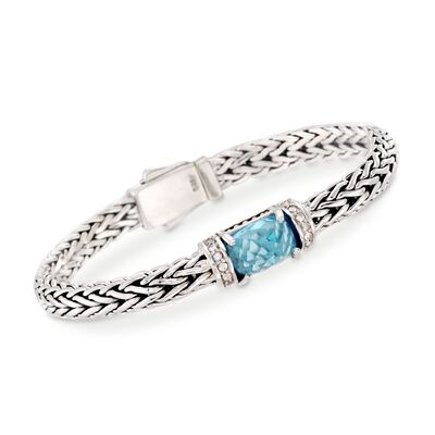 "Phillip Gavriel ""Woven"" 4.50 Carat Blue Topaz and .30 ct. t.w. White Sapphire Link Bracelet in Sterling Silver"