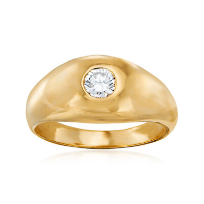 C. 1980 Vintage .35 Carat Diamond Ring in 14kt Yellow Gold, , default