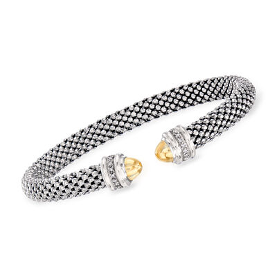 "Phillip Gavriel ""Popcorn"" Cuff Bracelet with Diamond Accents in Sterling Silver and 18kt Yellow Gold, , default"