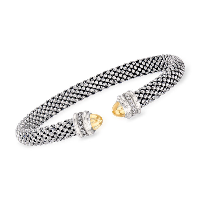 """Phillip Gavriel """"Popcorn"""" Cuff Bracelet with Diamond Accents in Sterling Silver and 18kt Yellow Gold"""