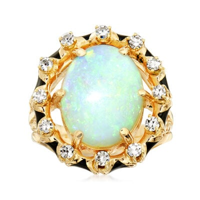C. 1970 Vintage Opal and .40 ct. t.w. Diamond Ring in 14kt Yellow Gold with Black Enamel, , default