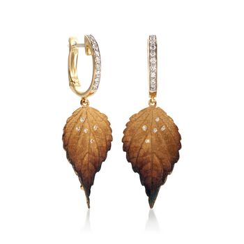 Simon G. Organic Allure Diamond Leaf Drops in 18-Karat Yellow Gold, , default