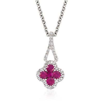 Gregg Ruth .51 ct. t.w. Ruby and .12 ct. t.w. Diamond Pendant Necklace in 18kt White Gold, , default