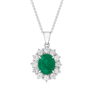 C. 1980 Vintage 2.21 Carat Emerald and 1.05 ct. t.w. Diamond Pendant Necklace in Platinum and 18kt White Gold