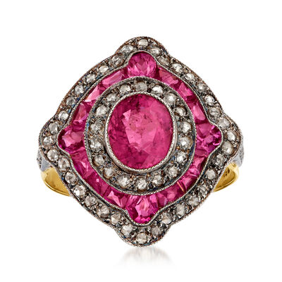 C. 1980 Vintage 2.29 ct. t.w. Pink Tourmaline and .55 ct. t.w. Diamond Ring in Sterling Silver and 18kt Yellow Gold