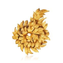 C. 1960 Vintage Tiffany Jewelry 18kt Yellow Gold Floral Garland Pin, , default