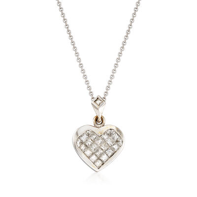 C. 1990 Vintage 1.15 ct. t.w. Diamond Heart Pendant Necklace in 18kt White Gold