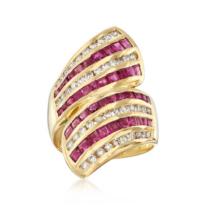 C. 1990 Vintage 2.44 ct. t.w. Ruby and .70 ct. t.w. Diamond Bypass Ring in 18kt Yellow Gold, , default