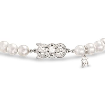 Mikimoto Akoya Pearl Necklace, Bracelet and Studs Set in 18-Karat White Gold. 18""
