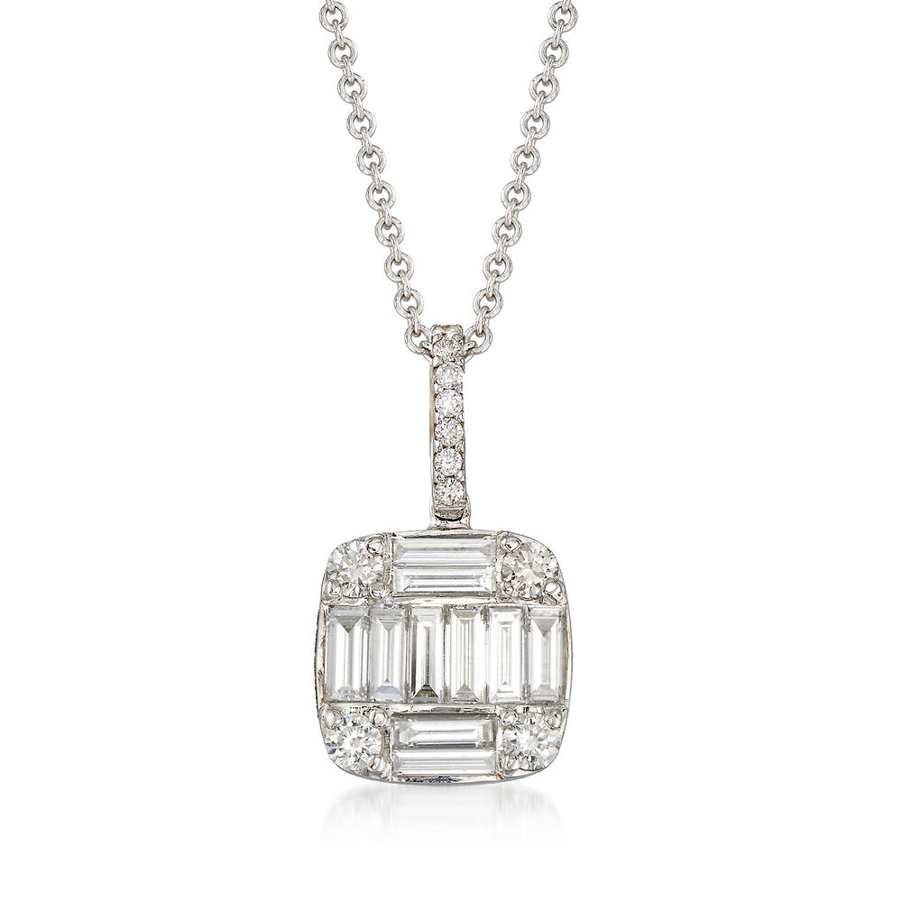 078852a32f13e .97 ct. t.w. Round and Baguette Diamond Square-Shaped Pendant Necklace in  18kt White Gold. 18