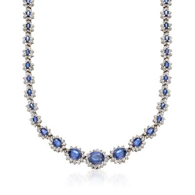 C. 1990 Vintage 21.50 ct. t.w. Sapphire and 9.50 ct. t.w. Diamond Necklace in 14kt White Gold, , default