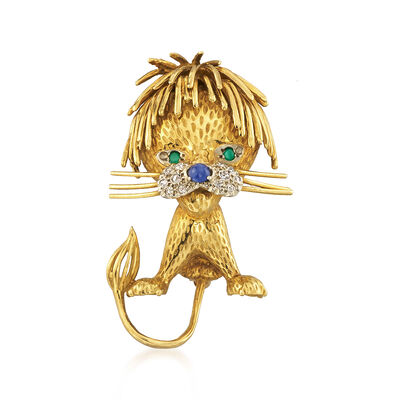 C. 1970 Vintage .13 ct. t.w. Diamond and .10 ct. t.w. Sapphire Lion Pin with Chalcedony Accents in 18kt Yellow Gold, , default
