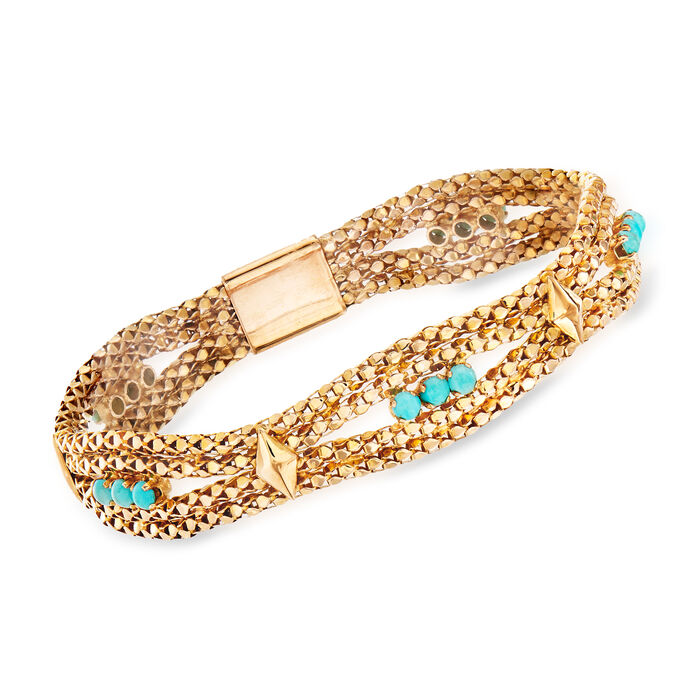 """C. 1970 Vintage Turquoise and Mesh Bracelet in 18kt Yellow Gold. 7.75"""", , default"""