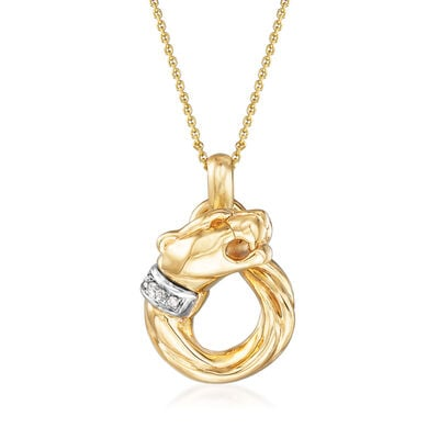 "Phillip Gavriel ""Italian Cable"" Panther Necklace with Diamond Accents in 14kt Yellow Gold, , default"