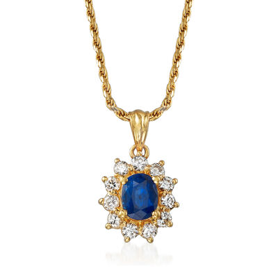 C. 1990 Vintage 1.10 Carat Sapphire and .55 ct. t.w. Diamond Pendant Necklace in 14kt Yellow Gold, , default