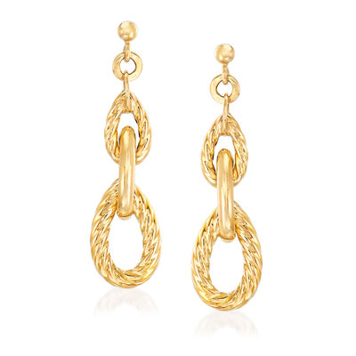 "Phillip Gavriel ""Italian Cable"" Link Drop Earrings in 14kt Yellow Gold, , default"