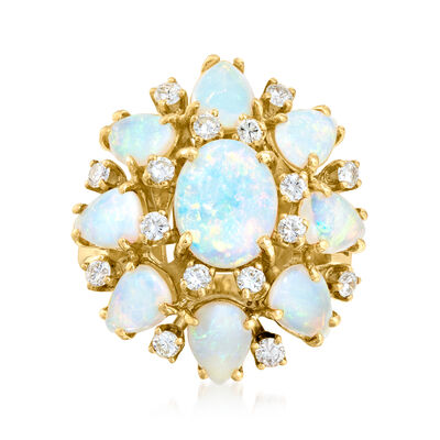 C. 1970 Vintage Opal and .65 ct. t.w. Diamond Cluster Ring in 14kt Yellow Gold