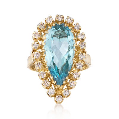 C. 1980 Vintage 4.30 Carat Aquamarine and .70 ct. t.w. Diamond Ring in 14kt Yellow Gold, , default