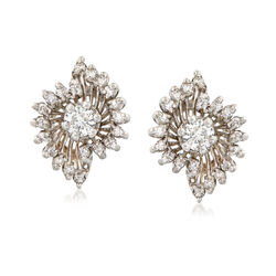 C. 1960 Vintage .80 ct. t.w. Diamond Cluster Earrings in 14kt White Gold, , default